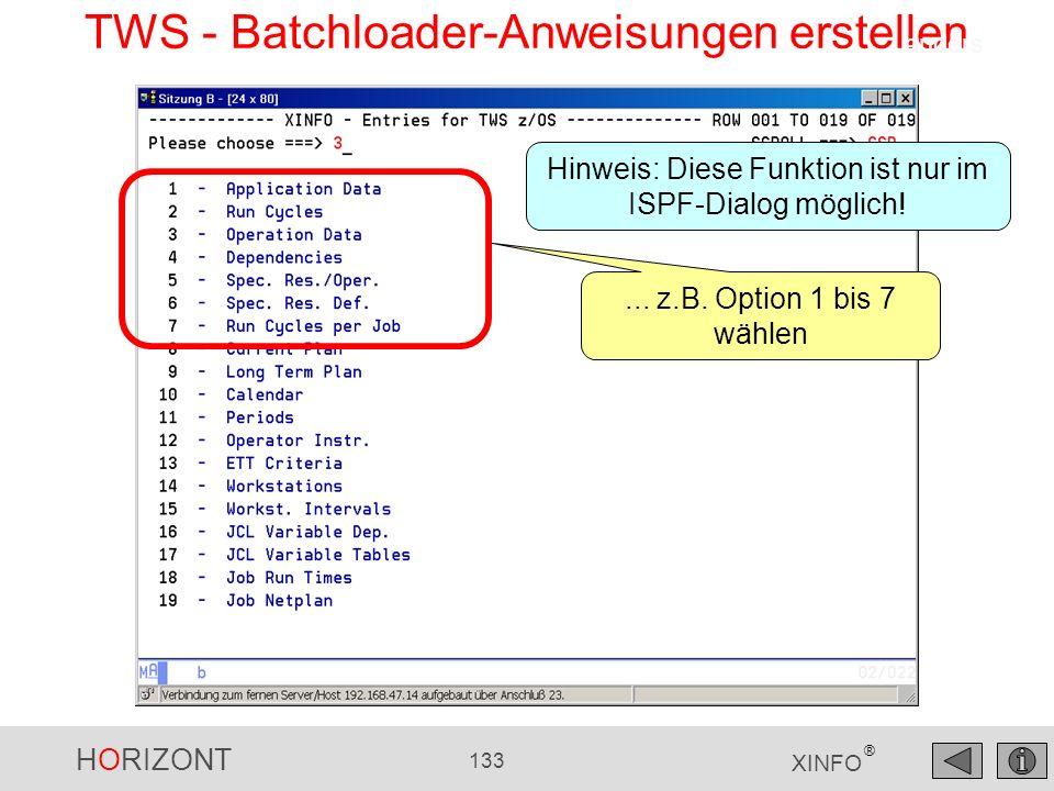 TWS - Batchloader-Anweisungen erstellen