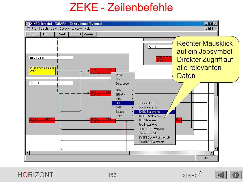 ZEKE - Zeilenbefehle Rechter Mausklick auf ein Jobsymbol: Direkter Zugriff auf alle relevanten Daten.
