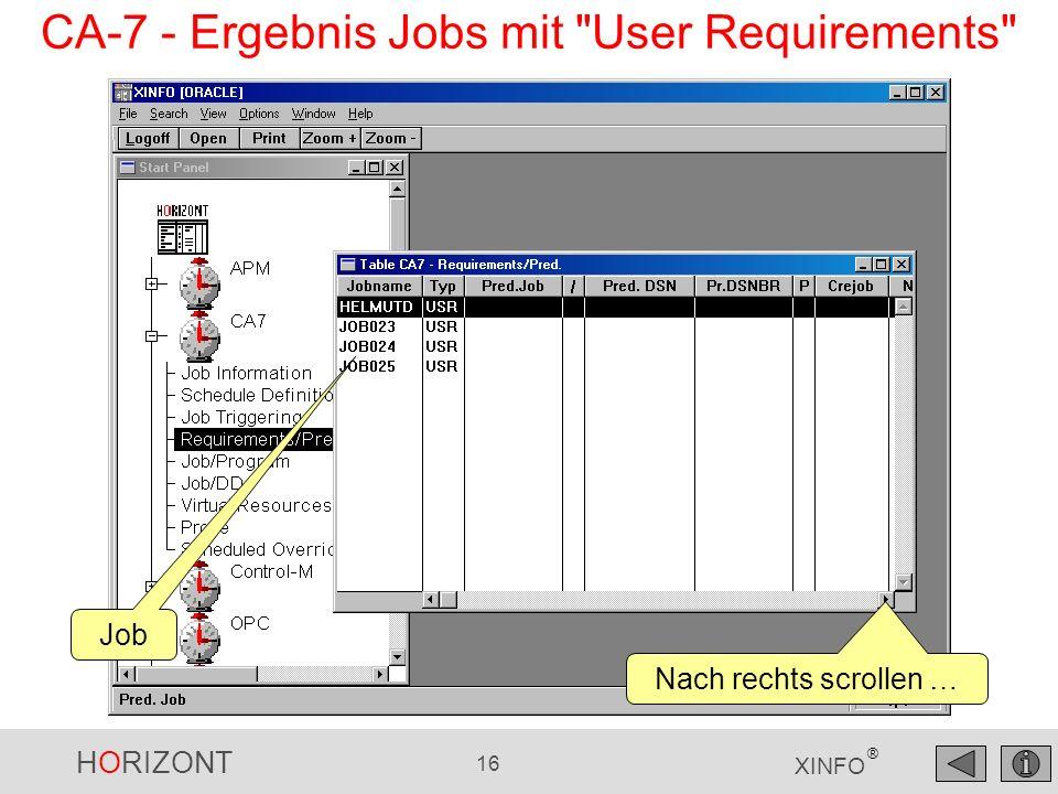 CA-7 - Ergebnis Jobs mit User Requirements