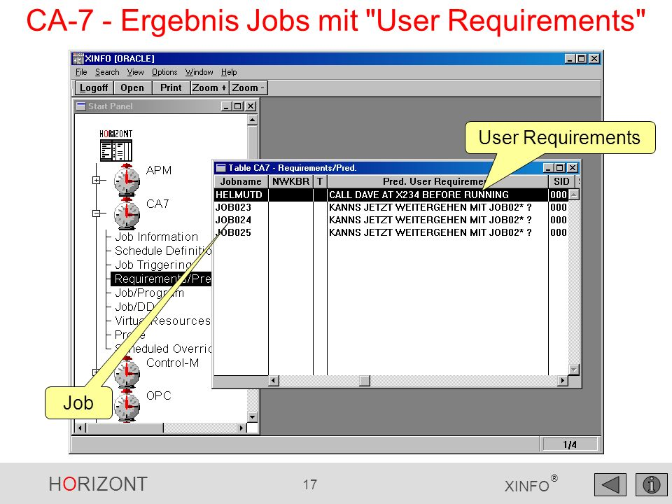 CA-7 - Ergebnis Jobs mit User Requirements