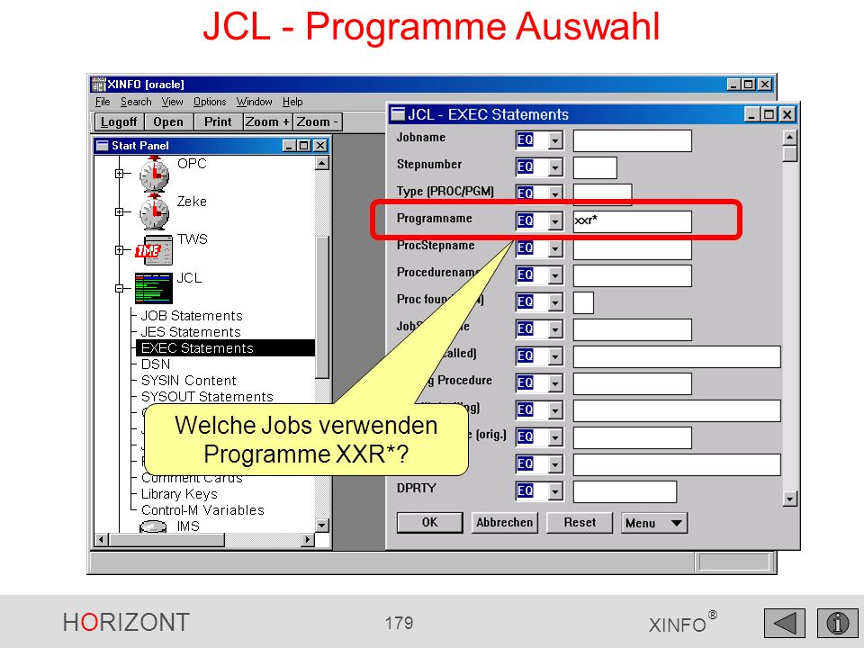 JCL - Programme Auswahl