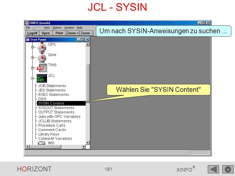 JCL - SYSIN Um nach SYSIN-Anweisungen zu suchen ...