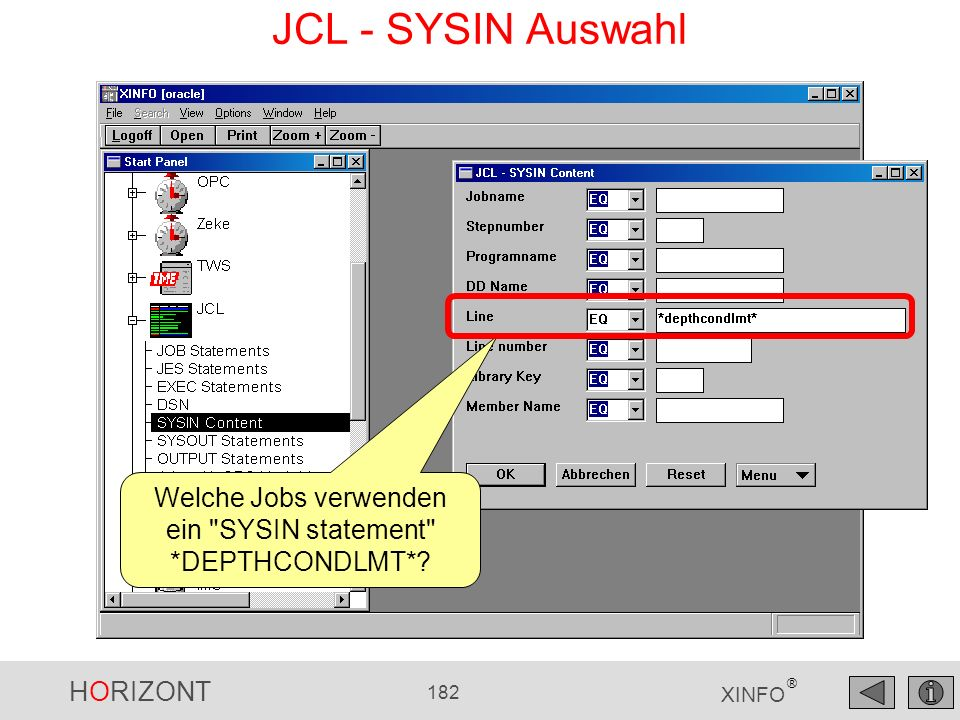 Welche Jobs verwenden ein SYSIN statement *DEPTHCONDLMT*