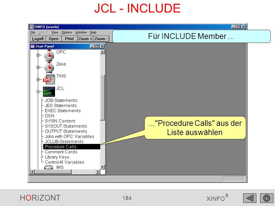 ... Procedure Calls aus der Liste auswählen