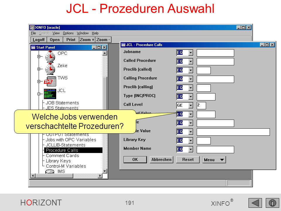 JCL - Prozeduren Auswahl