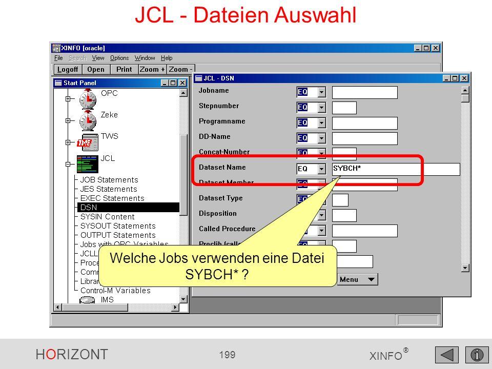 Welche Jobs verwenden eine Datei SYBCH*