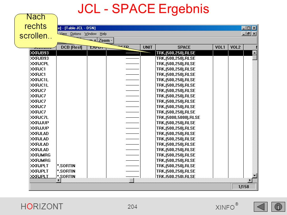 JCL - SPACE Ergebnis Nach rechts scrollen...