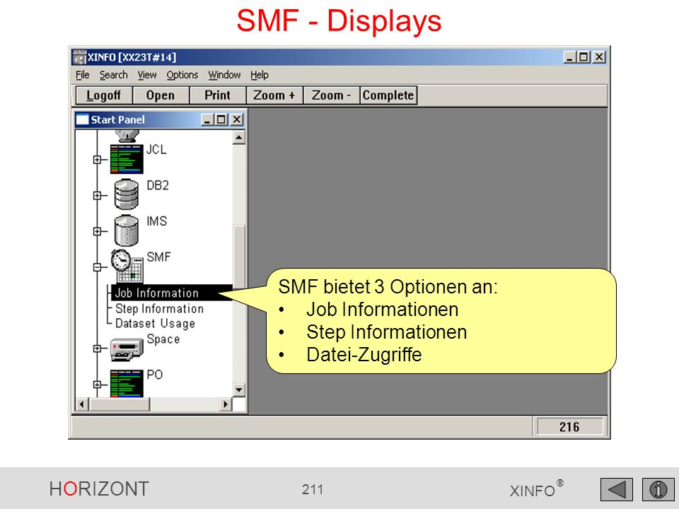 SMF - Displays SMF bietet 3 Optionen an: Job Informationen
