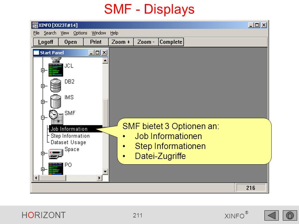 SMF - Displays SMF bietet 3 Optionen an: Job Informationen