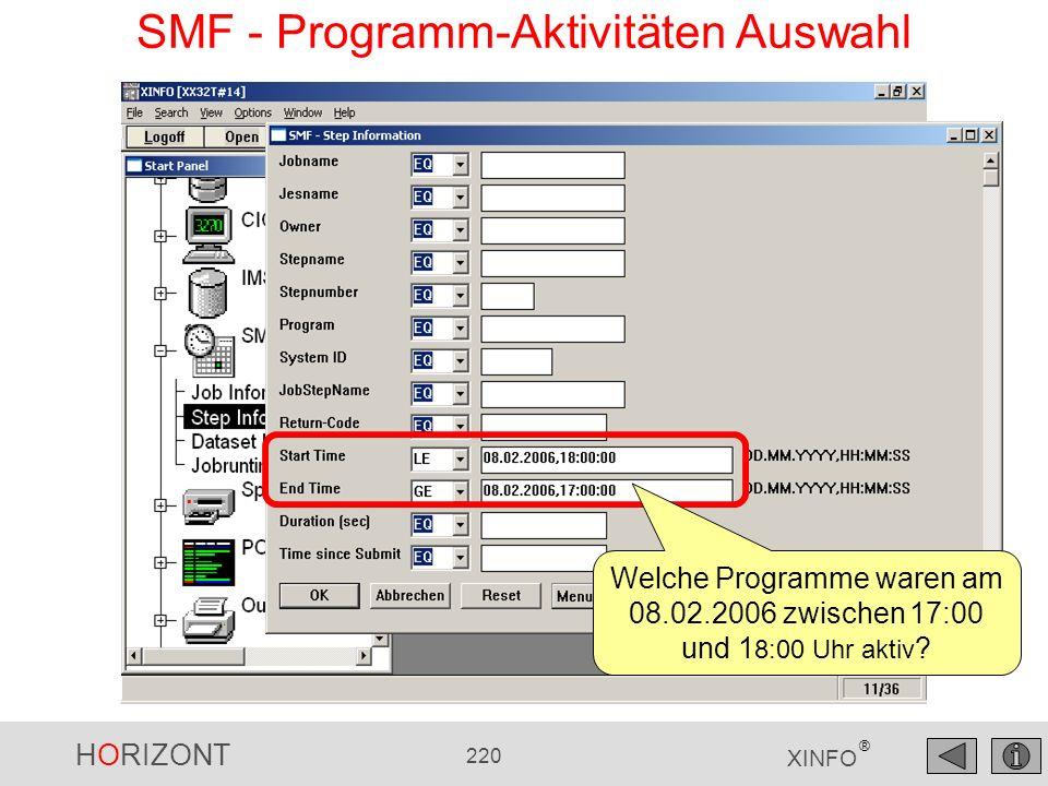 SMF - Programm-Aktivitäten Auswahl