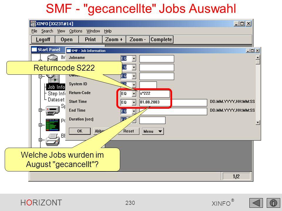 SMF - gecancellte Jobs Auswahl