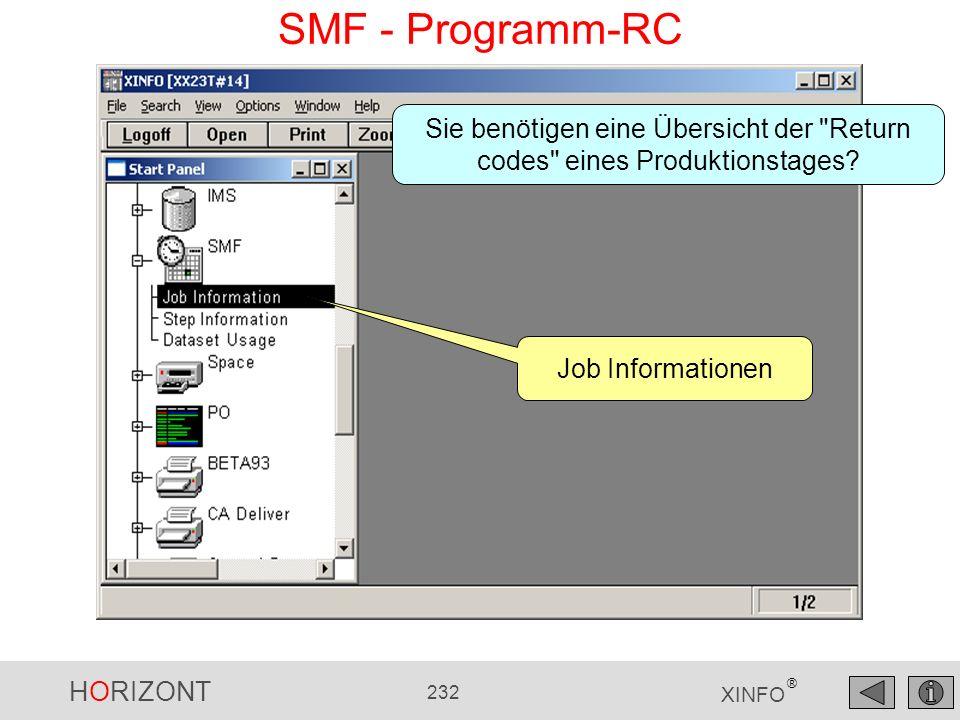 SMF - Programm-RC Sie benötigen eine Übersicht der Return codes eines Produktionstages.