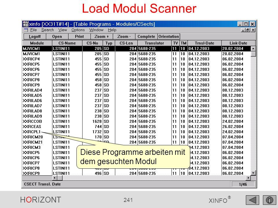 Load Modul Scanner Diese Programme arbeiten mit dem gesuchten Modul