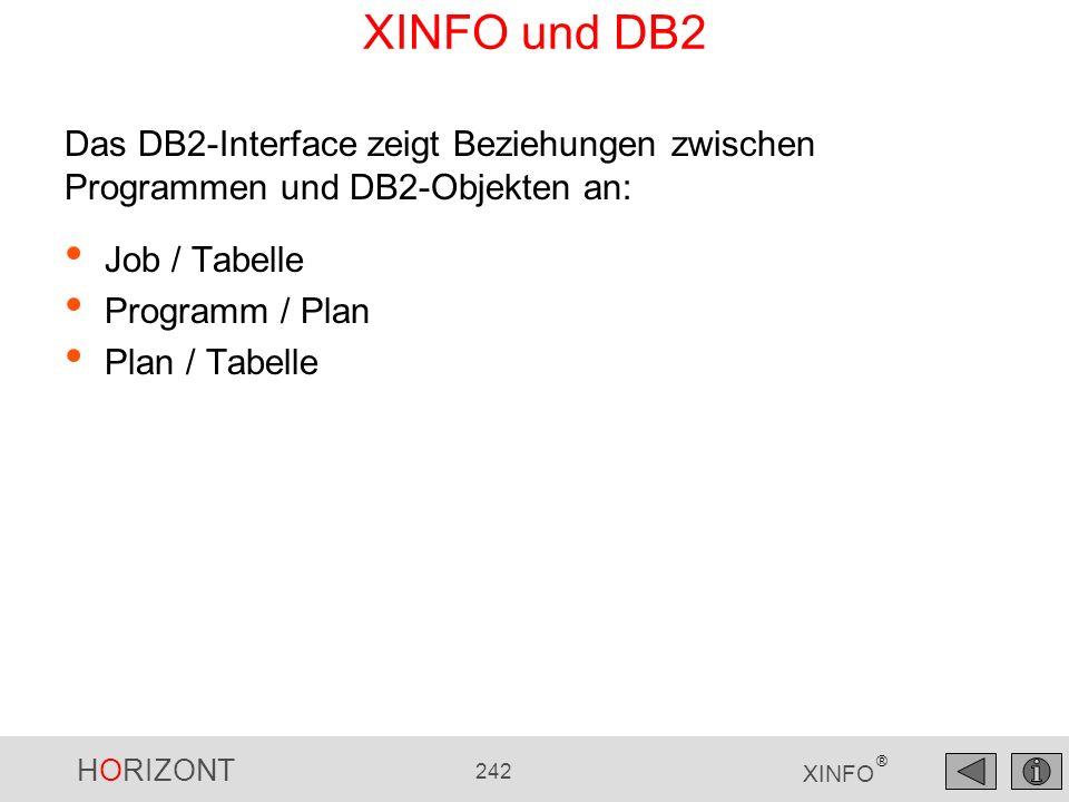 XINFO und DB2 Das DB2-Interface zeigt Beziehungen zwischen Programmen und DB2-Objekten an: Job / Tabelle.