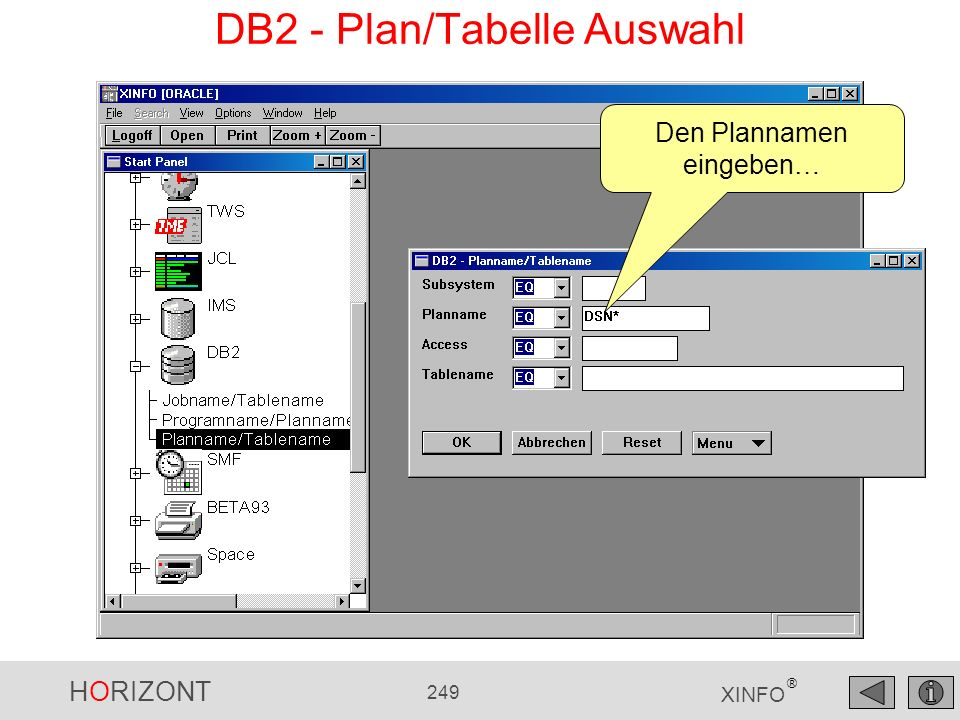 DB2 - Plan/Tabelle Auswahl