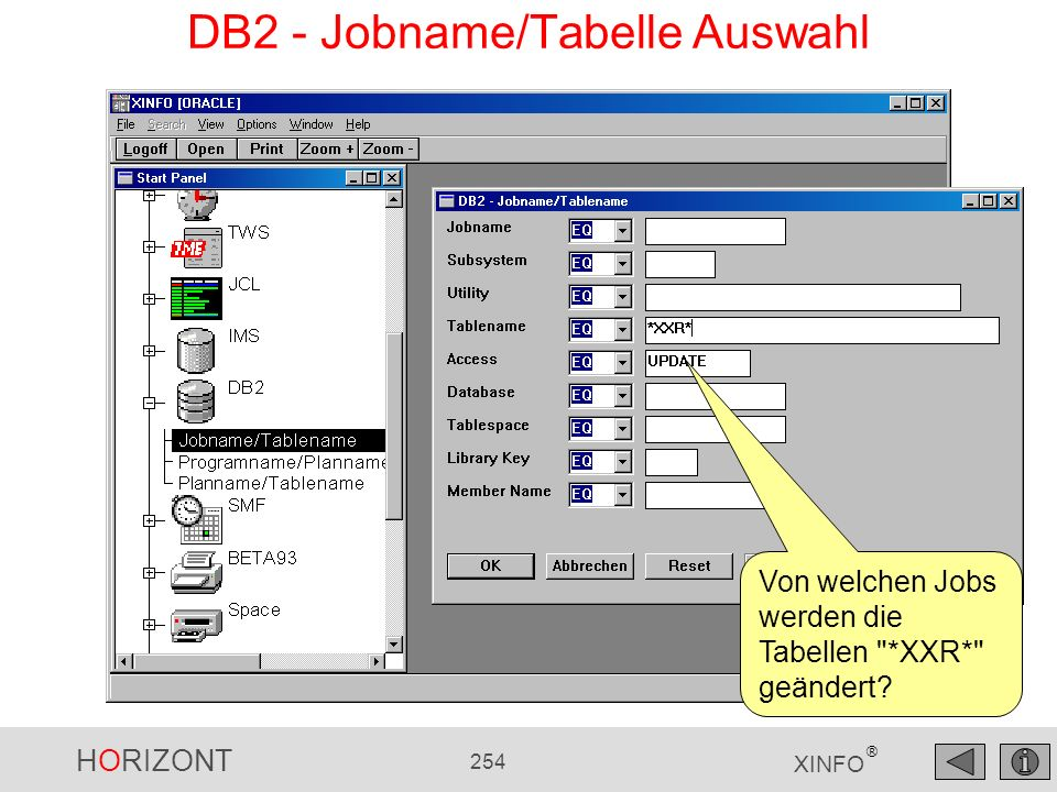 DB2 - Jobname/Tabelle Auswahl