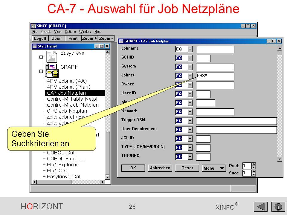 CA-7 - Auswahl für Job Netzpläne