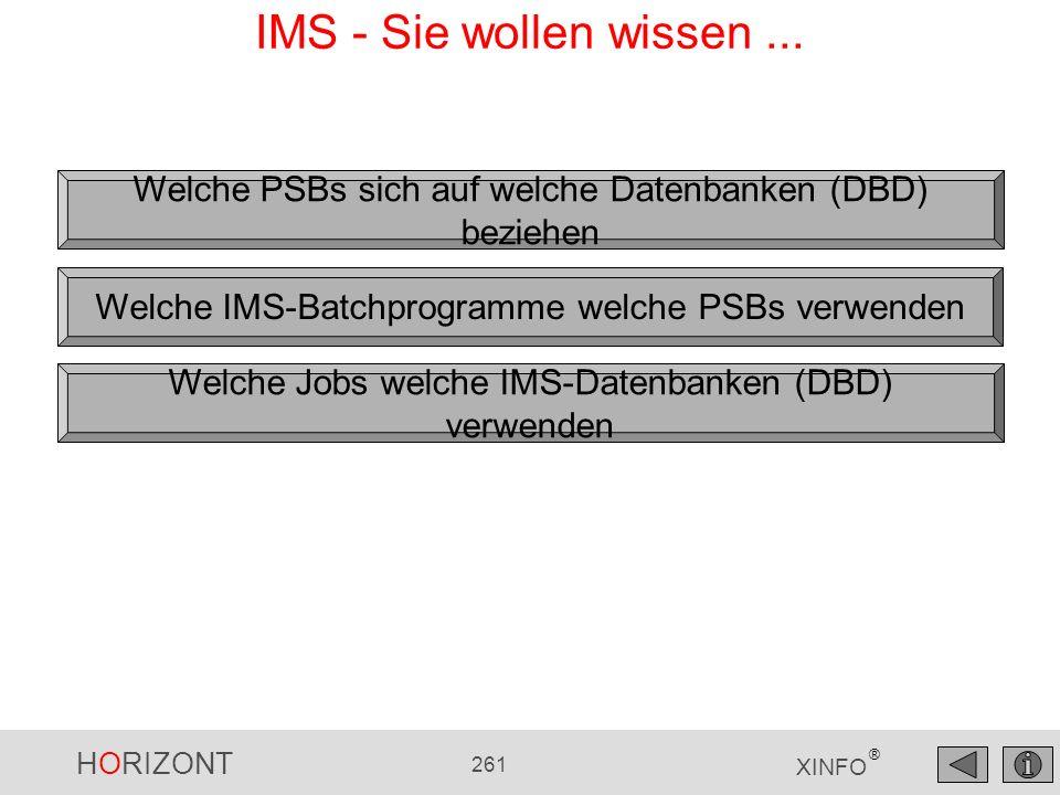 IMS - Sie wollen wissen ... Welche PSBs sich auf welche Datenbanken (DBD) beziehen. Welche IMS-Batchprogramme welche PSBs verwenden.