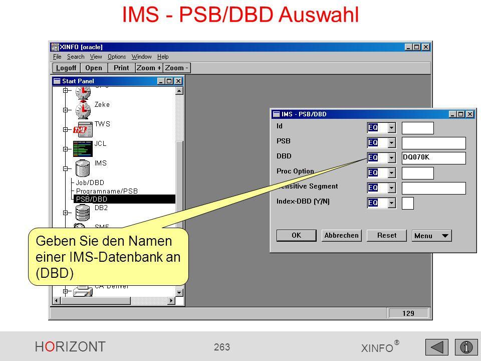 IMS - PSB/DBD Auswahl Geben Sie den Namen einer IMS-Datenbank an (DBD)