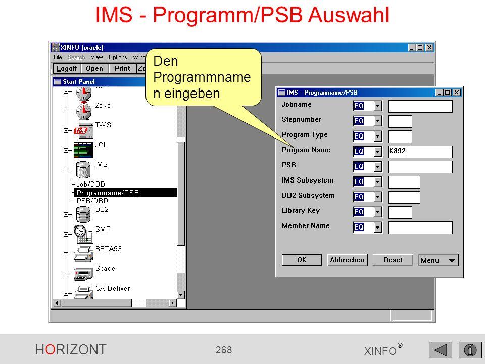IMS - Programm/PSB Auswahl