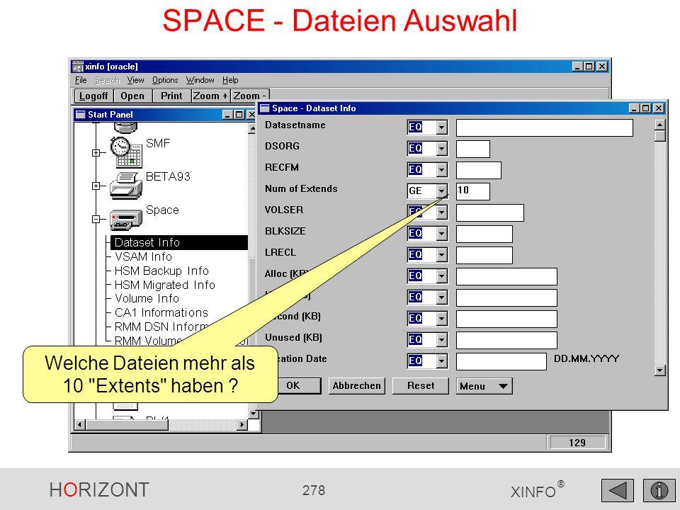 SPACE - Dateien Auswahl