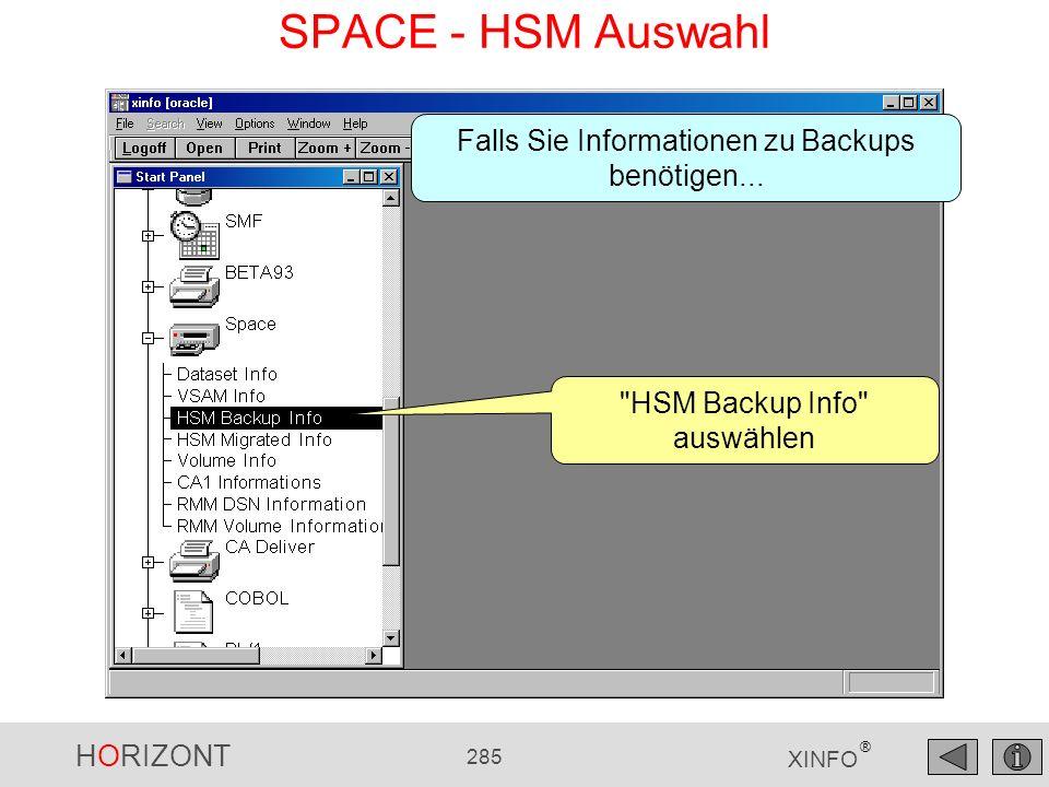 SPACE - HSM Auswahl Falls Sie Informationen zu Backups benötigen...