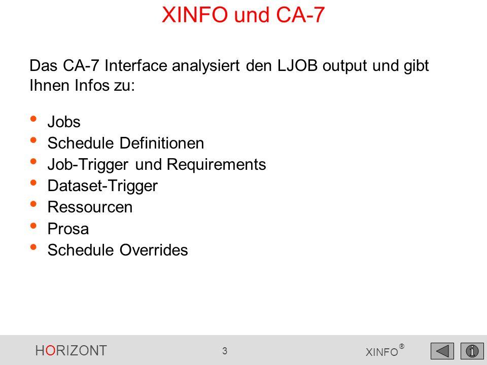 XINFO und CA-7 Das CA-7 Interface analysiert den LJOB output und gibt Ihnen Infos zu: Jobs. Schedule Definitionen.