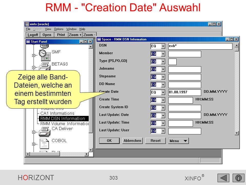 RMM - Creation Date Auswahl