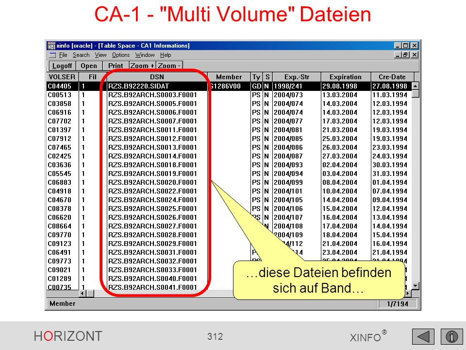 CA-1 - Multi Volume Dateien