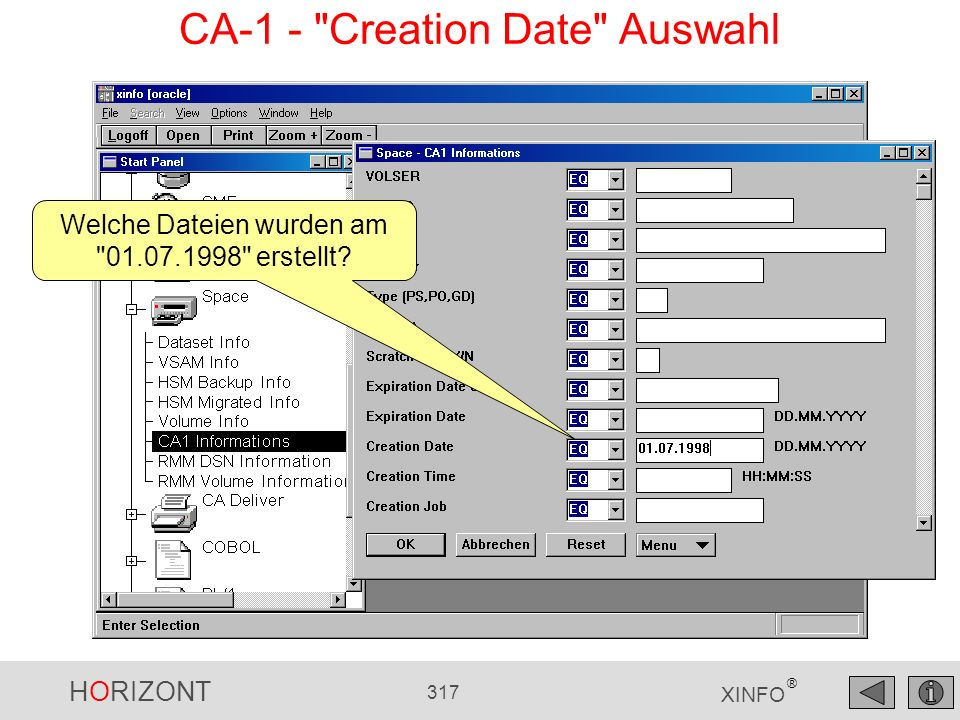 CA-1 - Creation Date Auswahl