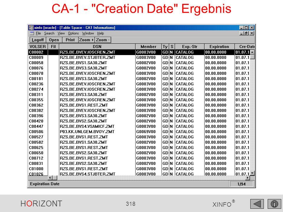 CA-1 - Creation Date Ergebnis