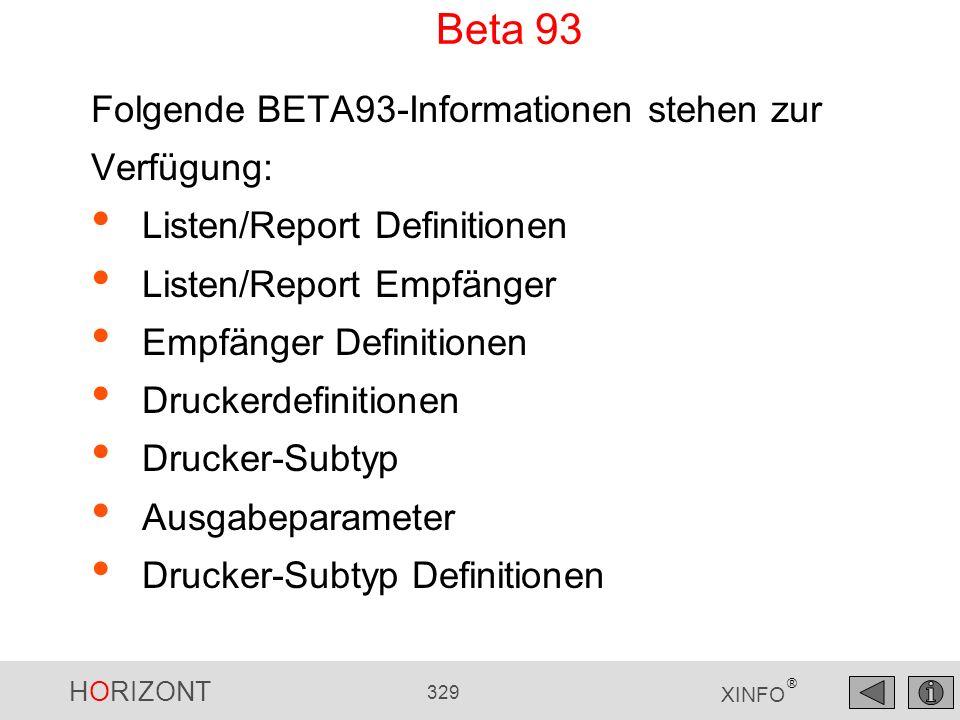 Folgende BETA93-Informationen stehen zur Verfügung: