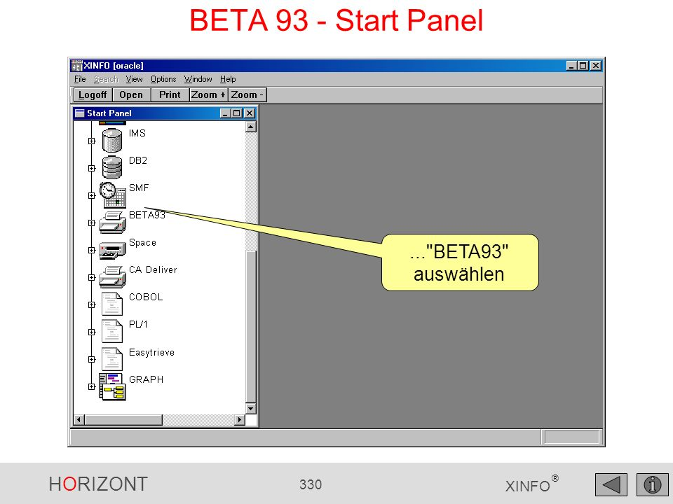 BETA 93 - Start Panel ... BETA93 auswählen
