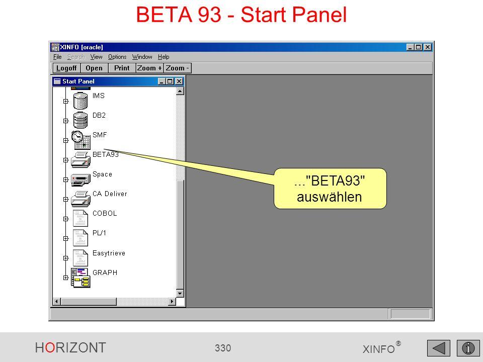 BETA 93 - Start Panel ... BETA93 auswählen