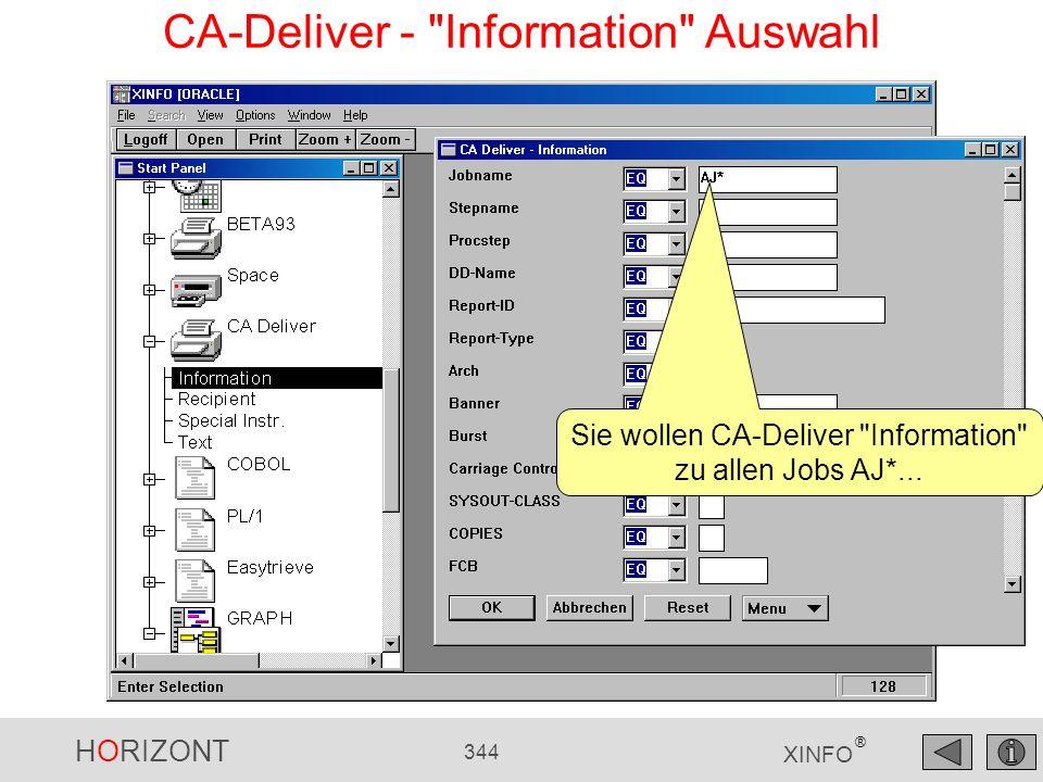 CA-Deliver - Information Auswahl