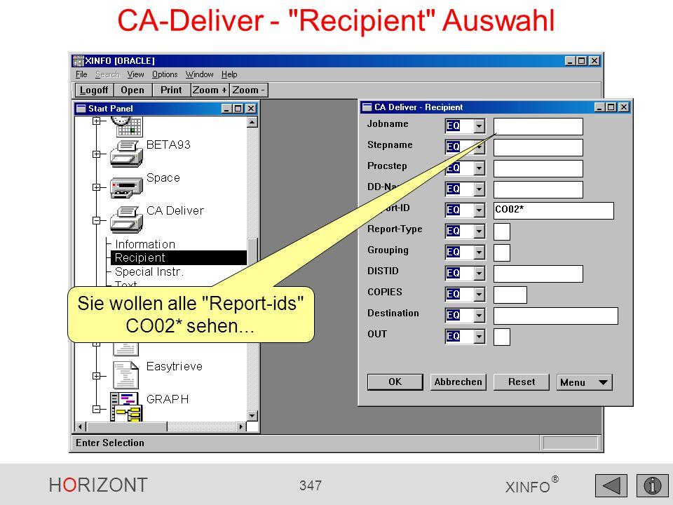 CA-Deliver - Recipient Auswahl