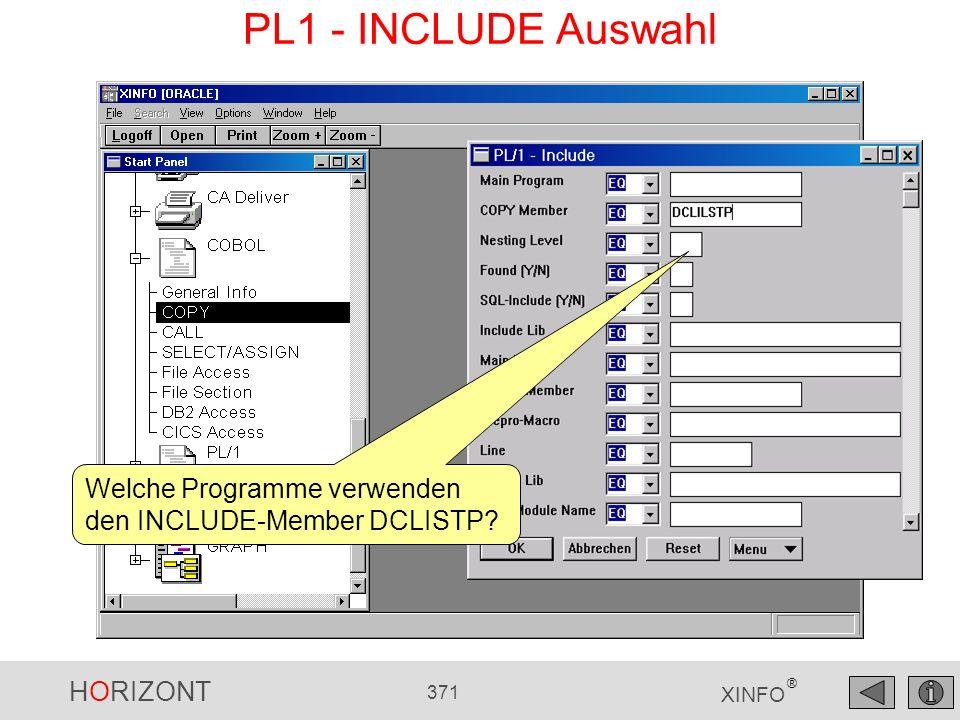 PL1 - INCLUDE Auswahl Welche Programme verwenden den INCLUDE-Member DCLISTP