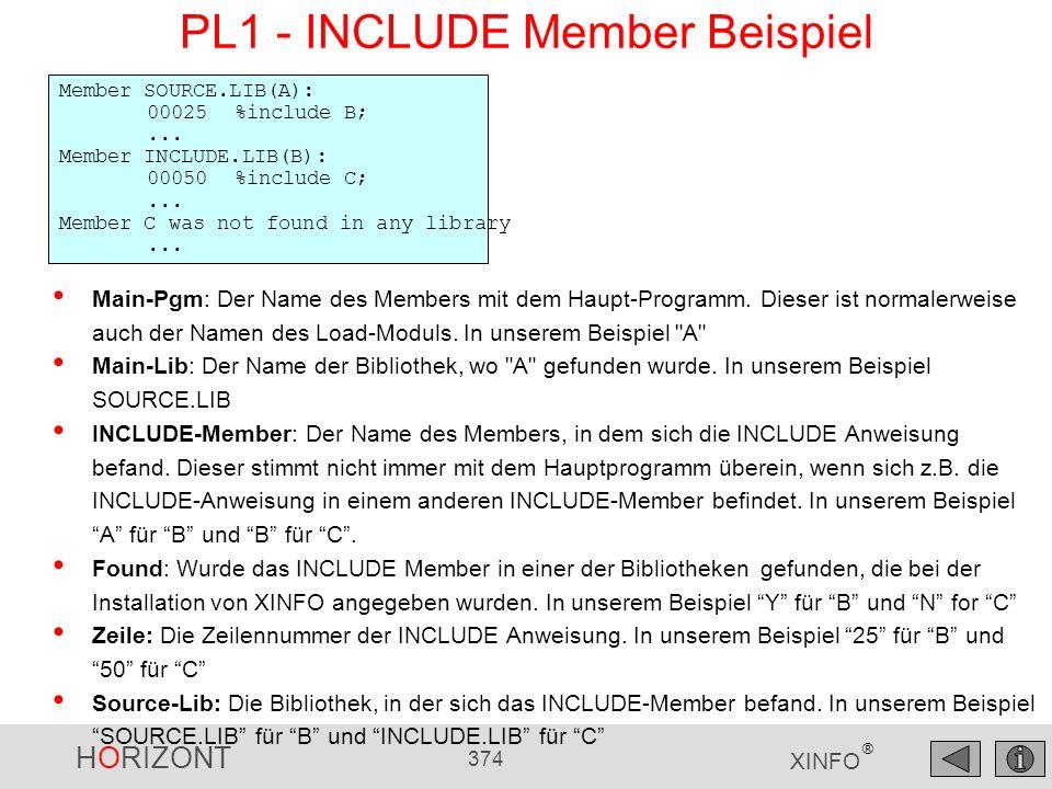 PL1 - INCLUDE Member Beispiel