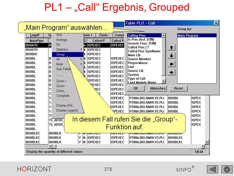 "PL1 – ""Call Ergebnis, Grouped"