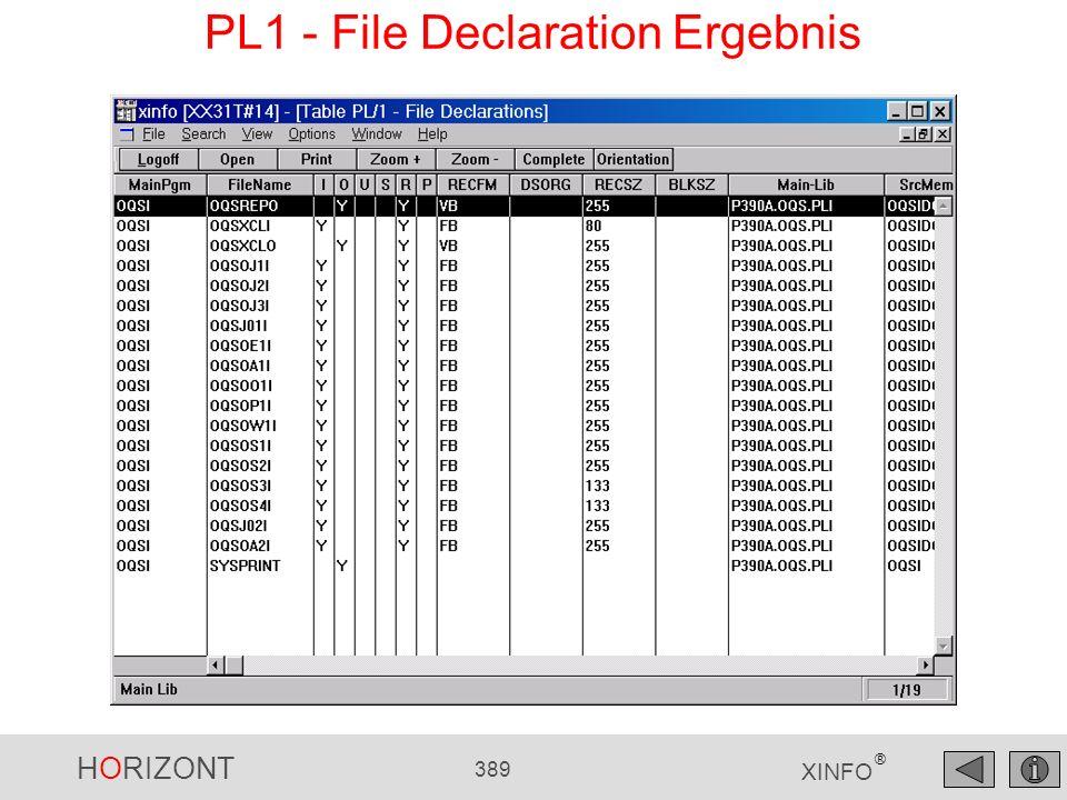 PL1 - File Declaration Ergebnis