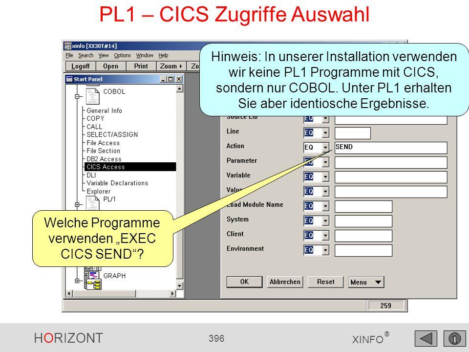 PL1 – CICS Zugriffe Auswahl