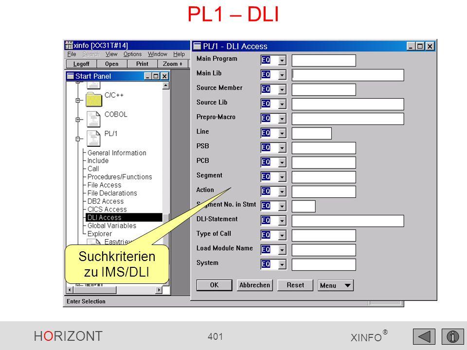 Suchkriterien zu IMS/DLI