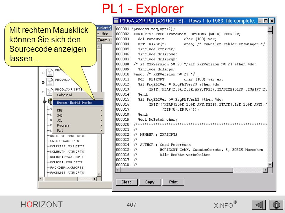 PL1 - Explorer Mit rechtem Mausklick können Sie sich den Sourcecode anzeigen lassen...