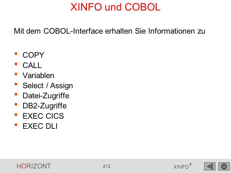 XINFO und COBOL Mit dem COBOL-Interface erhalten Sie Informationen zu
