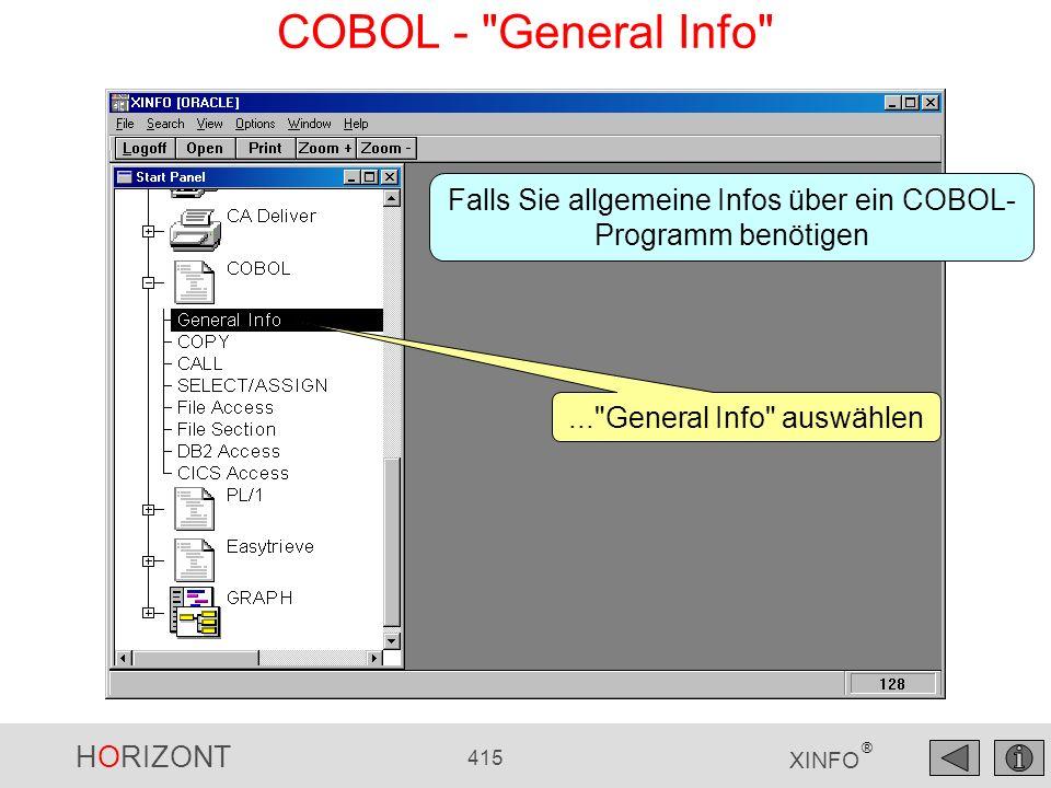 COBOL - General Info Falls Sie allgemeine Infos über ein COBOL- Programm benötigen.