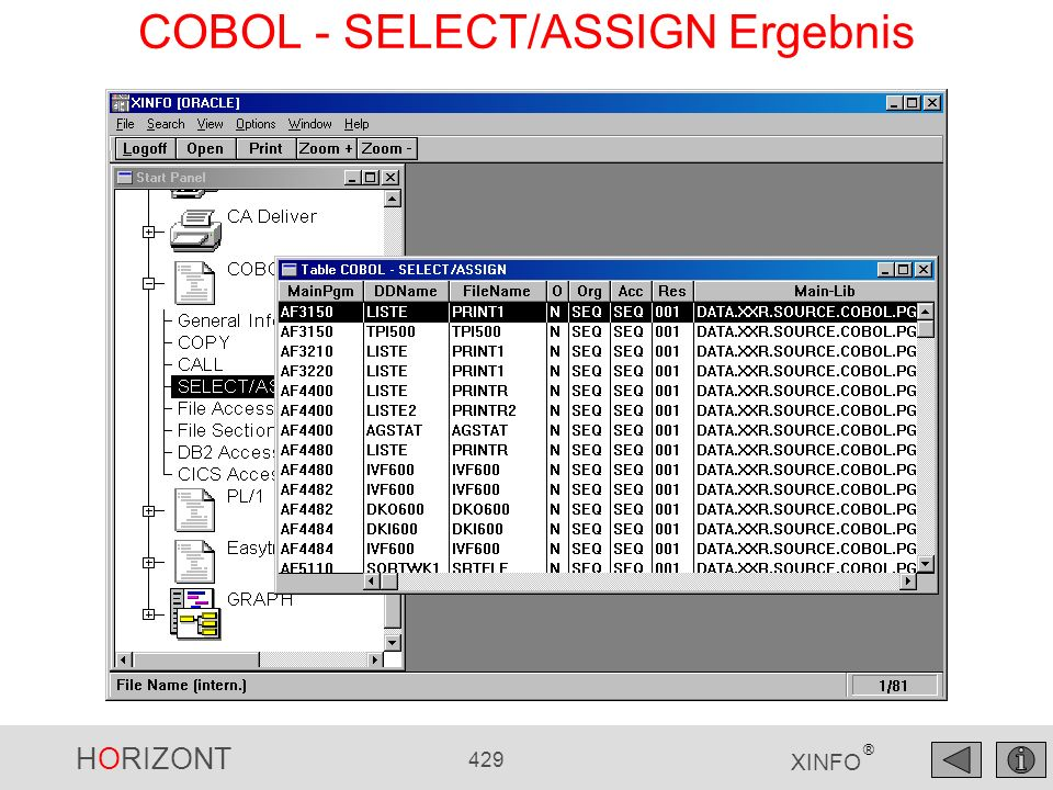 COBOL - SELECT/ASSIGN Ergebnis
