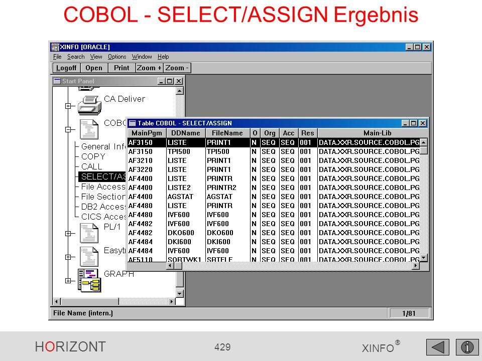 COBOL - SELECT/ASSIGN Ergebnis