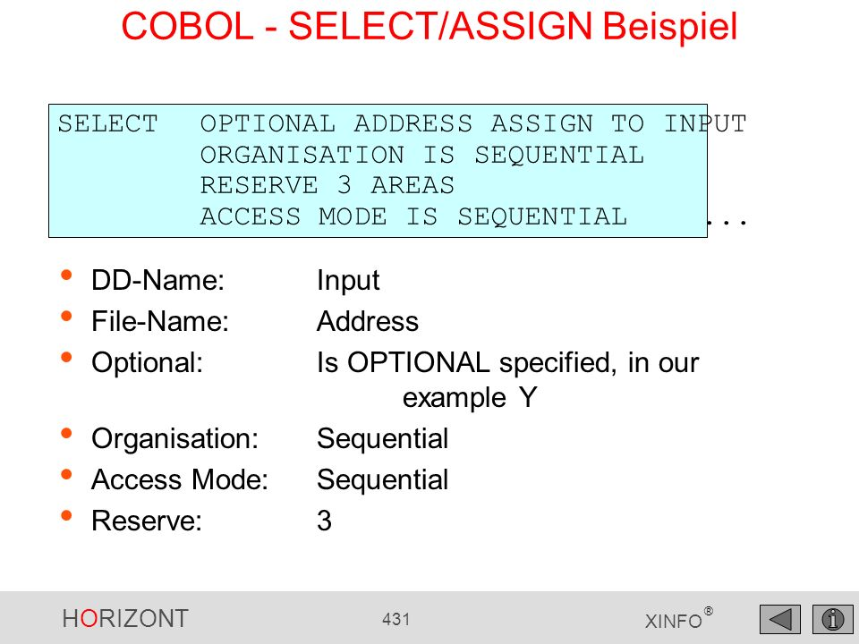 COBOL - SELECT/ASSIGN Beispiel