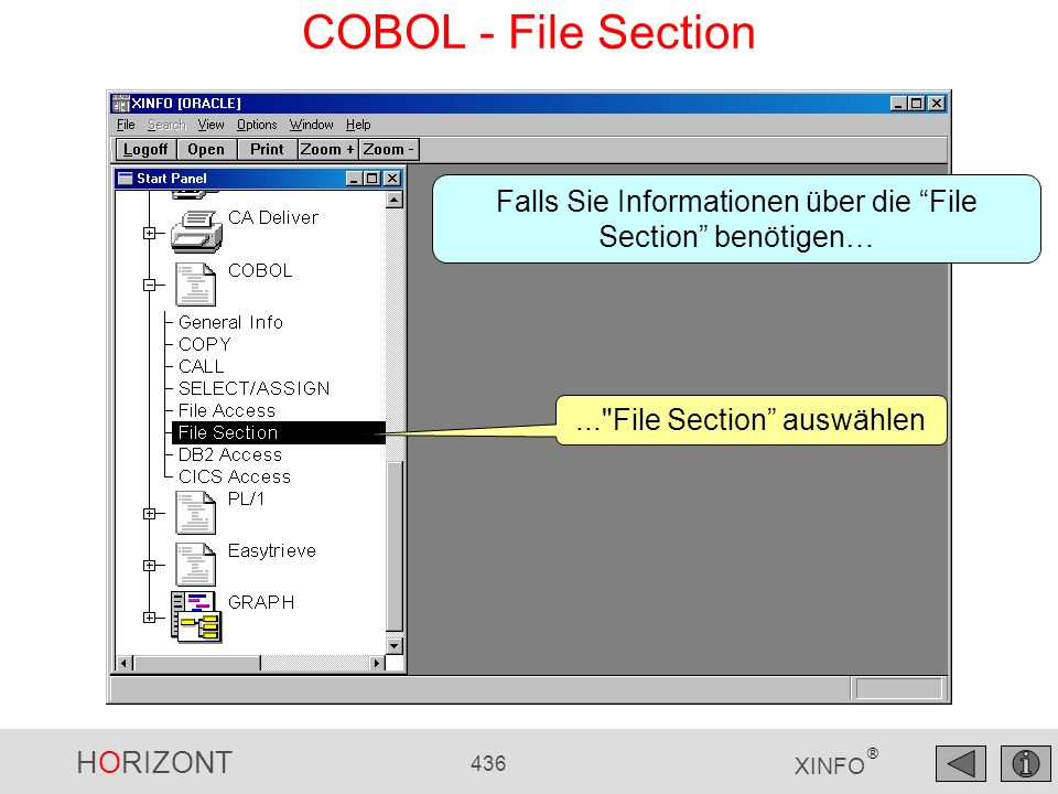 COBOL - File Section Falls Sie Informationen über die File Section benötigen… ... File Section auswählen.