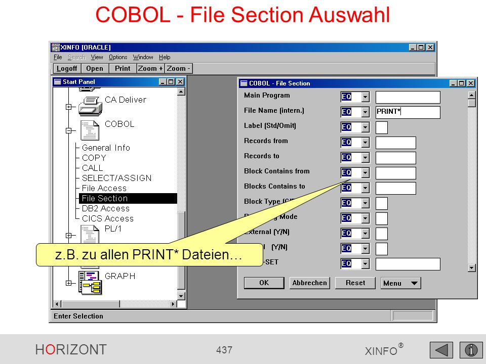 COBOL - File Section Auswahl